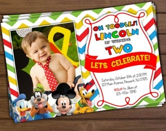 Mickey Mouse Invitation, Mickey Mouse Clubhouse Invitation, Mickey Mouse Birthday Invitation, Digital Mickey Mouse Invitation