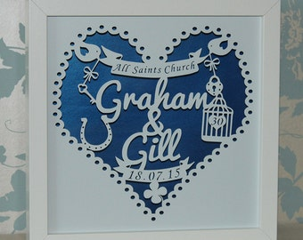 Personalised Shadow Framed Wedding or Anniversary Paper Cut