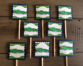 Alligator Cupcake Toppers* Crocodile Toppers* Navy and Green Toppers* Baby Shower Cupcake Toppers* 1st Birthday toppers