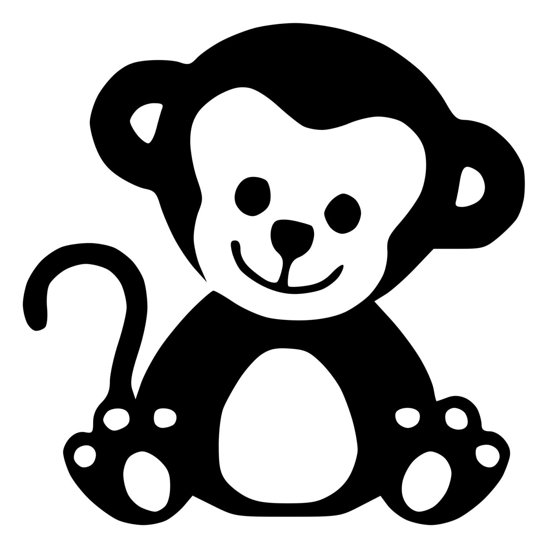 Princess Wall Art Stickers Adorable Baby Monkey Die Cut Decal Car Window Wall Bumper
