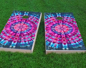 Tie-dye Theme 2x4 Cornhole Board Set with bags | Custom Corn Hole | Bag Toss | Corn Toss | Bean Bag Toss