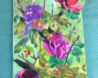 Art Collage Paper Collage Flowers and Leaves on upcycled old wood board Handmade original paper collage of the Season in a garden planter