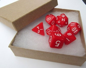 D&D Dice Set Magnets -- Opaque Red