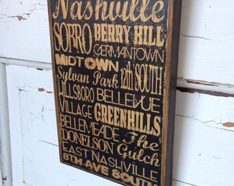 Nashville Tennessee City Areas Typography Sign On Wood, Nashville Print on Wood, Areas Art Print, Nashville Neighborhoods Sign on Wood