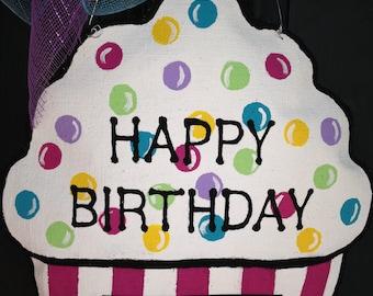 Cupcake Burlap Door Hanger - Personalized BirthdayDoor Hanger