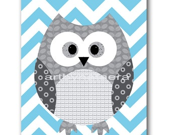Blue Gray Owl Wall Art Owl Nursery Print Baby Boy Nursery Decor Digital Art Digital Download Printable Print 8x10 11X14 INSTANT DOWNLOAD Art