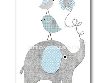 Digital Elephant Nursery Printable Art Instant Download Digital Art Digital Baby Room Decor Digital Download Baby Boy Nursery Art 8x10 11X14