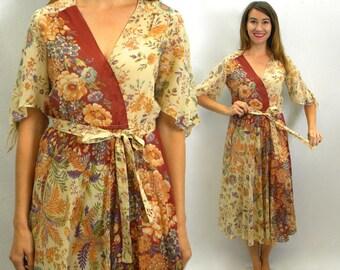 70s Tan Floral Print Dress | Bo Ho Dress | Beige Gauze Print Day Dress | Medium