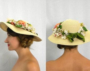 40s Creme Wide Brim Flowered Hat | Straw Flower Hat | Bests Apparel