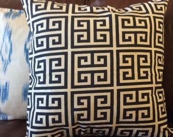 Blue White Greek Pillow Cover, Blue Navy Pillow, Geometric Accent Pillow, Greek Decorative Pillow, Greek Key Pillow, Toss cushion