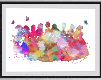 Disney Princess Watercolor Painting Print Archival Fine Art Print Wall Decor Art Home Decor Wall Hanging