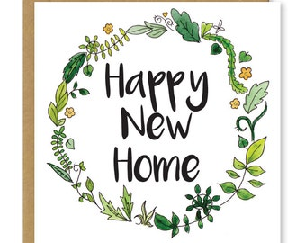 New home card | Floral happy new home greetings card
