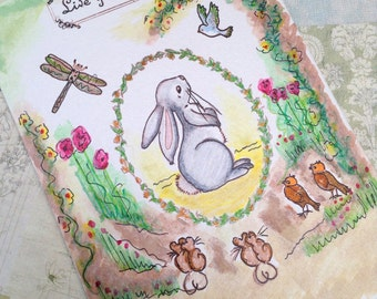 Easter Woodland animals  Nursery card, Hand stamped and coloured greeting card, Card for a friend, Cute Bunny card