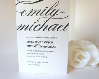 Elegant Wedding Program - Black Wedding Ceremony Programs, Modern, Classy, Shimmer, Wedding Program, Elegant Programs - DEPOSIT