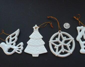 4 White Ceramic Ornaments