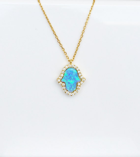 Opal Hamsa Necklace, in Gold Plated Sterling Silver and Sparkly CZ and With The Popular Sky Blue Opal Hand For Good Luck