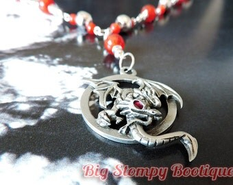 Pewter Red Eyed Dragon Pendant with Red Agate Silver Plated Long Necklace