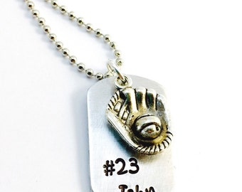 Hand Stamped Baseball Necklace, Dog tag Baseball Necklace, Boys Sports Necklace, Baseball Mom, Boys Baseball Necklace