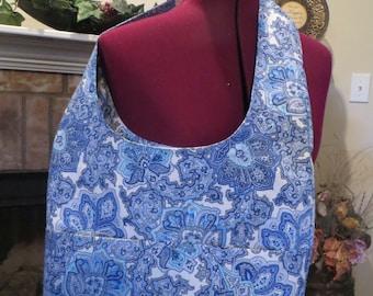 Tote, Handbag, Book Bag, Shopping Tote, Diaper Bag, Blue Paisley Canvas Fabric