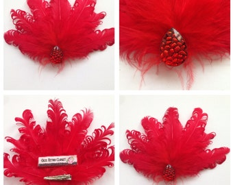 Red Curly Feather Hairflower