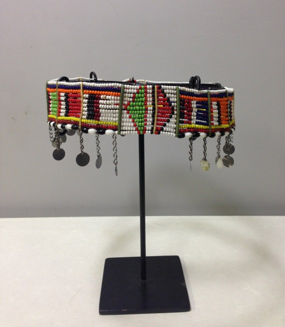 African Belt Beaded Masai Belt Women Handmade Red Blue Yellow Beads Silver Charms Dangle Tribal Belt