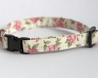Small Dog or Puppy Collar, Pink and Cream Floral, Handmade, Made To Measure