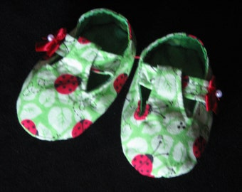 Baby Girst T-Strap Mary Jane Style Booties Ladybug Print Fabric