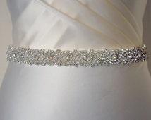 "Embellished belt, All around, 1 "" Bridal belt, wedding dress waistband, Wedding belt, crystal trim, bridal sash, diamante, beaded,dress belt"