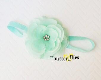 Rhinestone centered silk and organza flower headband by TheButterThatFlies - Mint flower Headband, Newborn photo prop