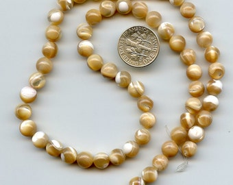 """Natural Mother of Pearl, Smooth 7mm Round Shell BEADS, Full 16"""" Strand, DESTASH ks199"""