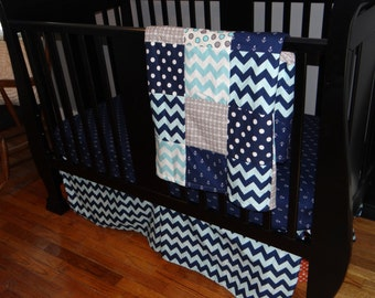 Crib Bedding Set, Navy Blue, Gray and Baby Blue Chevron, Polka Dots, and Nautical Anchor Designs, Fitted Sheet, Crib Skirt & Minky Blanket