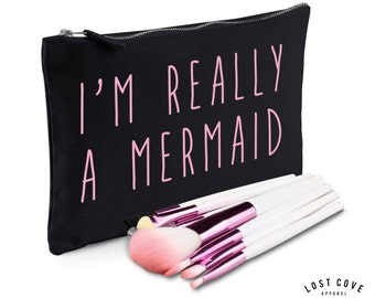 I'm Really A Mermaid Psycho Slogan Make Up Bag Case Makeup Gift Clutch Contents Pink