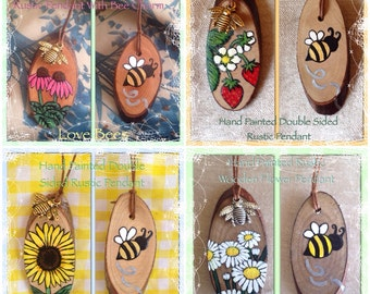 Love Bees Rustic Wooden Summer Flower Pendant With Bee Charm - Double Sided