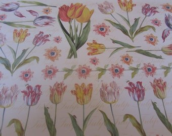 Vintage Tulips Decoupage Paper