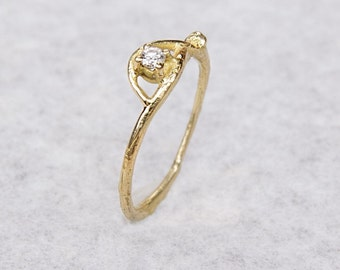Nature Engagement ring - Nature Wedding ring - 18kt solid gold - Diamond