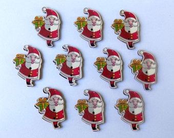 10 Santa Claus Buttons - #C-00008