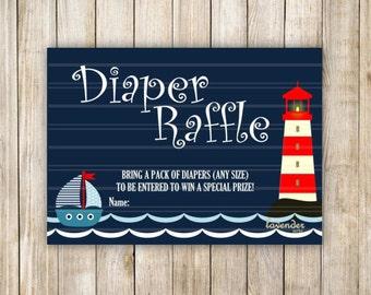 Nautical Diaper Raffle, Navy Blue Baby Shower, Baby Boy Shower Game, Navy Nautical Diaper Raffle, Sailboat, Instant Download, DIY Printable