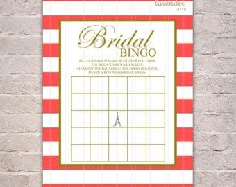 PARIS BRIDAL BINGO, Bridal Shower Games, Registry Game, French Bingo Printables, Orange Pink Stripes Gold, Diy Printable Instant Download