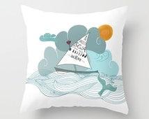 Nautical Pillow Boat Personalized Quote Fish Sea Ocean Sailor - 16x16 18x18 20x20 Birthday Gift Women Teens Beach House Coastal Apartment