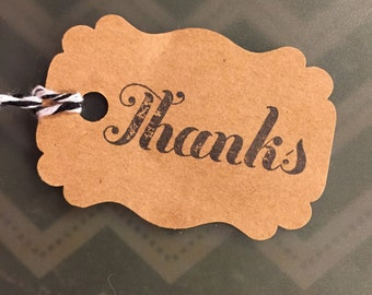 """50 Craft Paper Gift Tags Stamped """"Thanks"""""""