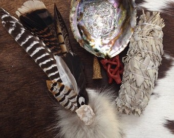 Ceremonial Feather Smudge Large Fan Kit with Antler, Geode, & Coyote Fur