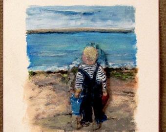 """Little Boy On the Beach, Acrylic On Driftwood Painted Art Card. """"Little Boy Blue."""" Framed or Unframed."""