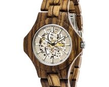 Dreamy Wood Watch Circle Series Large Transparent Automatic Mechanical Wooden Watch Zebra Sandalwood