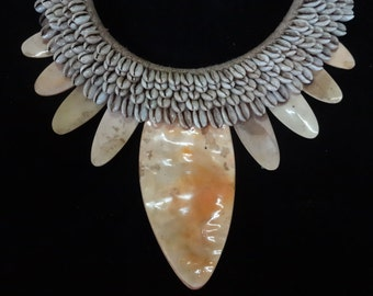 Cool Exotic Necklace With 2 Band White Shells And 9 Hard Shells Papua New Guinea Home Decor