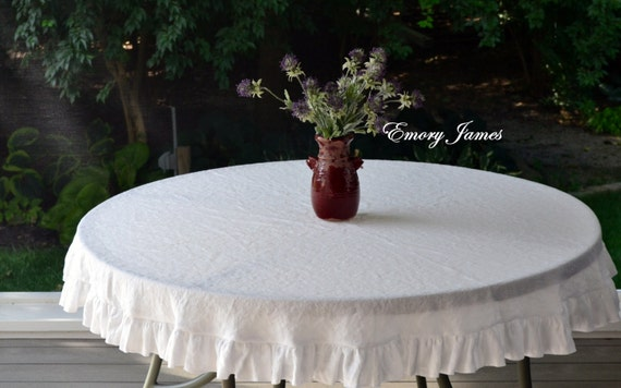 white linen round ruffled tablecloth washable linen organic. Black Bedroom Furniture Sets. Home Design Ideas