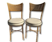 On Sale Vintage Mid Century Modern Hollywood Regency Retro Style Palm Beach Vintage Cast Iron  Faux Bamboo Chippendale Bistro Dinette Chairs