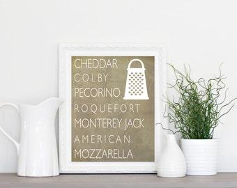 Cheese Art Print - Kitchen Art - Wall Art - Kitchen Decor
