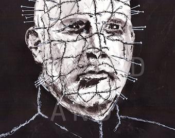 Hellraiser - pinhead - 8 x 10 print - movie - Macabre - Horror - Sinister  - evil - Illustration - portrait - halloween -  dark art