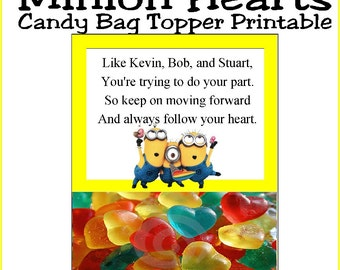 Minion Hearts Candy Bag Topper Printable