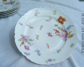 "Antique China Plate, O & EG Royal Austria 9"" Floral Dessert Plates, Set of 4, Coral and Pink Flowers, Vintage China Plate White with Flowers"